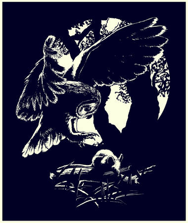 prey: Mouse hunting Silhouettes of an owl and a mouse in black and white Illustration