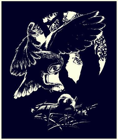 Muis jacht silhouetten van een uil en een muis in zwart-wit