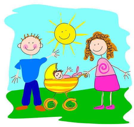 couples outdoors: Happy family Illustration of a woman and a husband with a baby in a baby-carriage