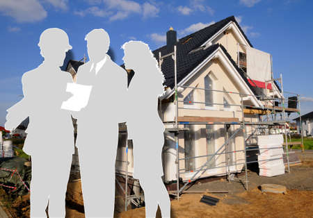 Architect and clients Building site with a dwelling house and the shade of the architect and the clients Stock Photo - 8790406