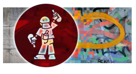 deface: Graffiti  Concrete wall with graffiti in different colours and the icon of a graffiti artist
