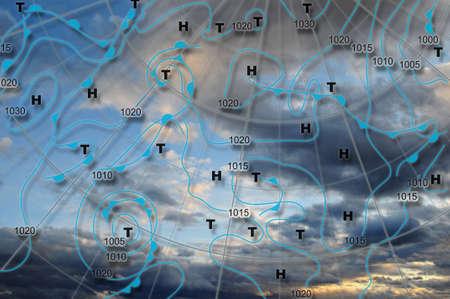 estado del tiempo: Mapa de Europa clima mapa meteorol�gico de Europa con alta presi�n y centros de baja presi�n