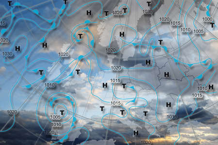 Weather map Europe Weather map of Europe with high pressure and low pressure centers Stock Photo - 8831236