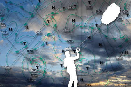 Weather map Europe Weather map of Europe with high pressure and low pressure centers and the silhouette in white of a man with a flying kite photo