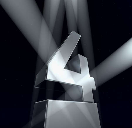 Congratulation four Number four in silver letters on a silver pedestal on a black background photo