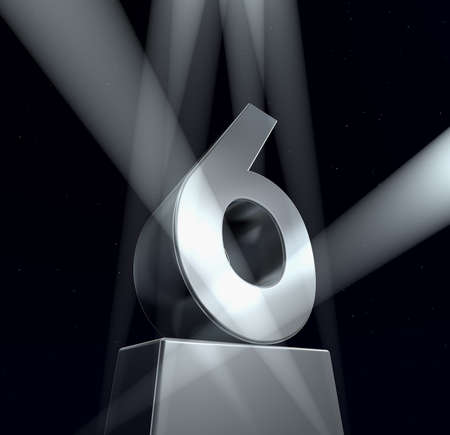 6 years: Congratulation six Number six in silver letters on a silver pedestal