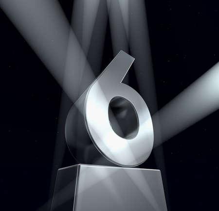 Heilwens zes nummer zes in zilveren letters op een zilveren voetstuk  Stockfoto