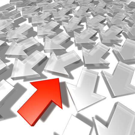 downwards: Against the trend A group of white arrows pointing downwards and one red arrow pointing upwards. 3d Stock Photo