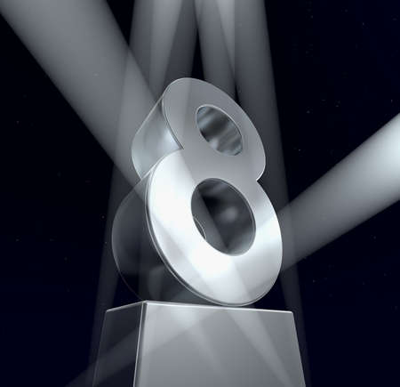 Congratulation eight Number eight in silver letters on a silver pedestal. 3d  photo