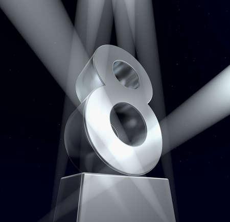 Congratulazioni otto Numero otto lettere d'argento su un piedistallo d'argento. 3d Archivio Fotografico