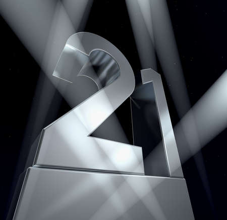 Congratulation 21 The number twenty-one in silver letters on a silver pedestal. 3d Banco de Imagens - 9022730