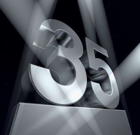 Congratulation 35 Number thirty-five in silver letters on a silver pedestal. 3d  Stok Fotoğraf