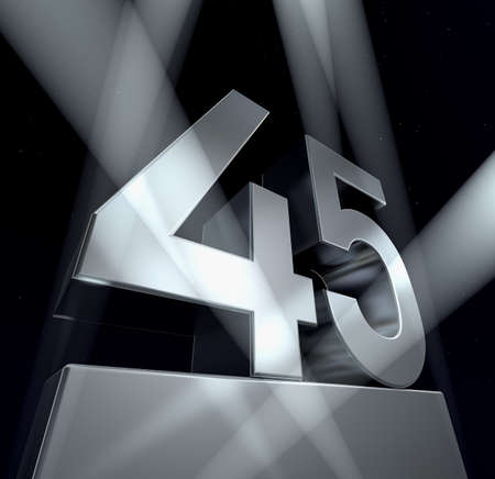 Congratulation 45 Number forty-five in silver letters on a silver pedestal. 3d  Stok Fotoğraf