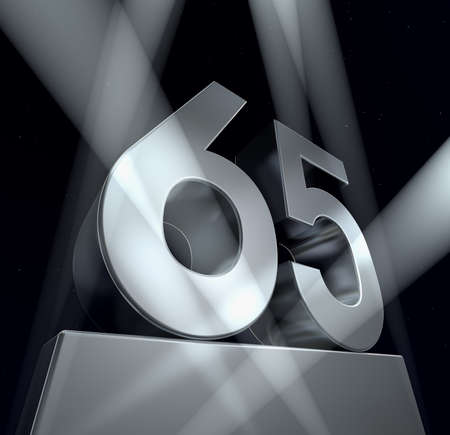 Congratulation 65 Number sixty-five in silver letters on a silver pedestal