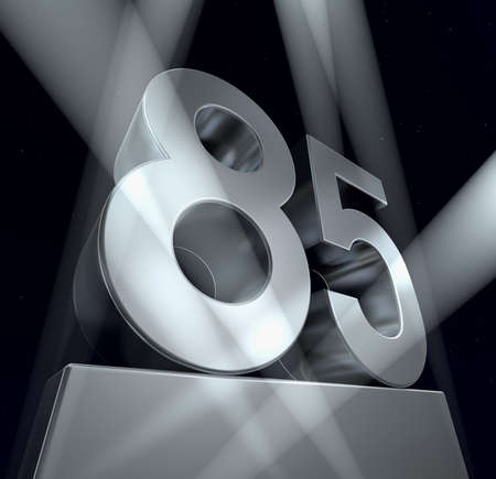 Congratulation 85 Number eighty-five in silver letters on a silver pedestal  photo