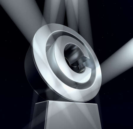 trademark: Copyright Copyright sign in silver on a silver pedestal at a black background. 3d