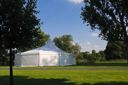 White tent White circus or party tent in a public park Stock Photo - 9022995