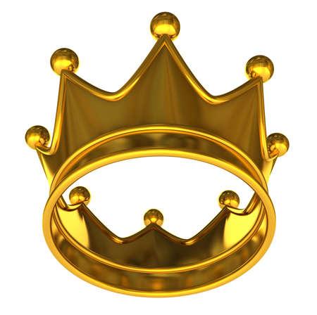 Golden Couronne en or Couronne isol� sur un fond blanc Banque d'images