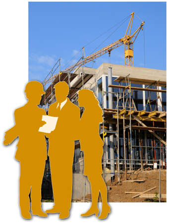 Architect and clients Building site with a house and the silhouette of the architect and the clients photo