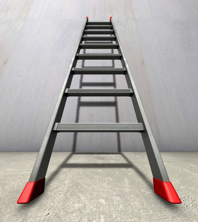 Straight ladder A straight ladder with red anti-slip shoes leaned against a grey wall photo