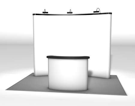 exhibitor: Trade exhibition stand Trade exhibition stand with screen and counter. 3d