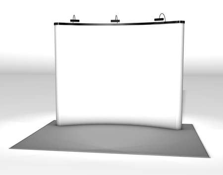 exhibitor: Trade exhibition stand Trade exhibition stand with screen at a grey floor Stock Photo