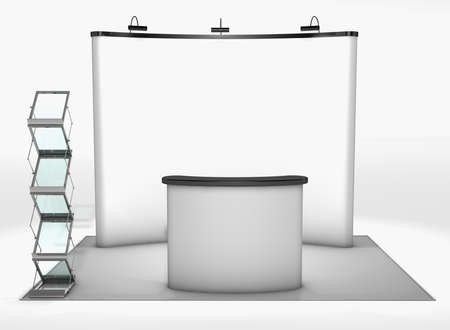 talk show: Trade exhibition stand Trade exhibition stand with screen, counter and brochure rack Stock Photo