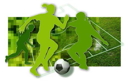 Voetbal meisjes silhouet van drie vrouwelijke voetballers, een bal in zwart-wit en delen van een voetbalveld Stockfoto