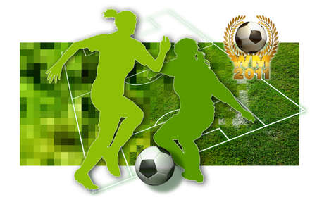 Soccer girls Silhouette of two female soccer players, a ball in black and white and parts of a football pitch photo