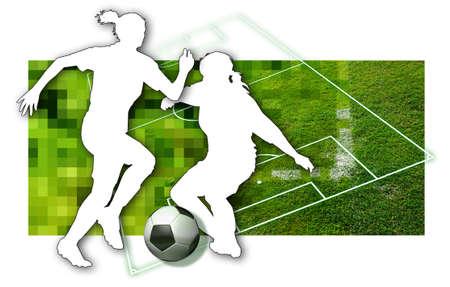 Girls Soccer Silhouette de deux joueurs de soccer f?minin, une boule en noir et blanc et des parties d'un terrain de football