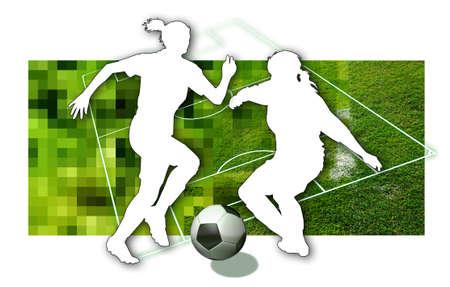 Girls Soccer Silhouette de deux joueurs de soccer f�minin, une boule en noir et blanc et des parties d'un terrain de football Banque d'images