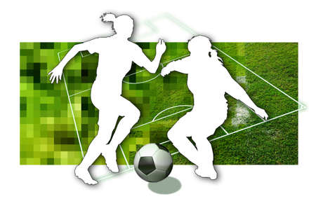 Soccer girls Silhouette of two female soccer players, a ball in black and white and parts of a football pitch Stock Photo