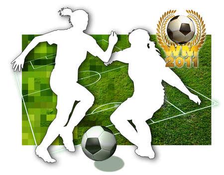 축구 여자 두 여자 축구 선수, 흑인과 백인, 축구 피치와 황금 월계관의 부분에서 공을의 실루엣
