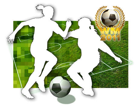 soccer cleats: Soccer girls Silhouette of two female soccer players, a ball in black and white, parts of a football pitch and a golden laurel wreath Stock Photo