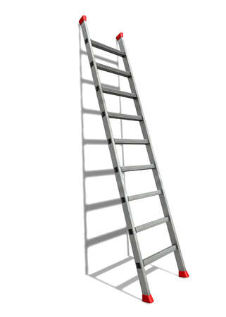 climb job ladder: Straight ladder A straight ladder with red anti-slip shoes leaned against a white wall