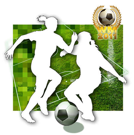 female soccer: Soccer girls Silhouette of two female soccer players, a ball in black and white, parts of a football pitch and a golden laurel wreath Stock Photo
