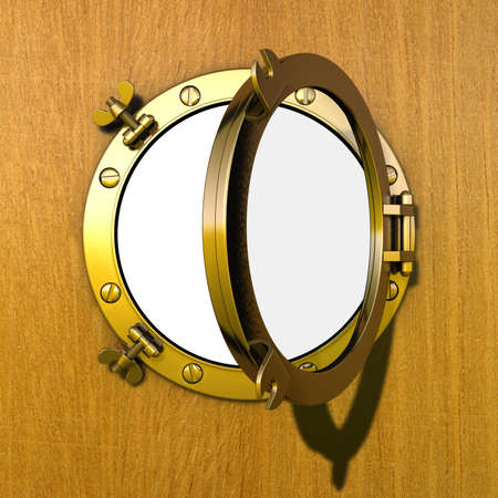 Porthole Illustration of an opened gilded porthole in a wooden cabin wall illustration