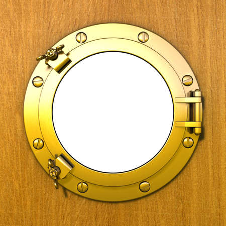 ship porthole: Porthole Illustration of a closed gilded porthole in a wooden cabin wall Stock Photo