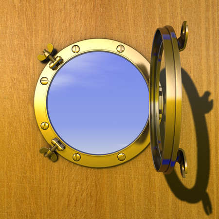 Porthole Illustration of an open gilded porthole in a wooden cabin wall illustration