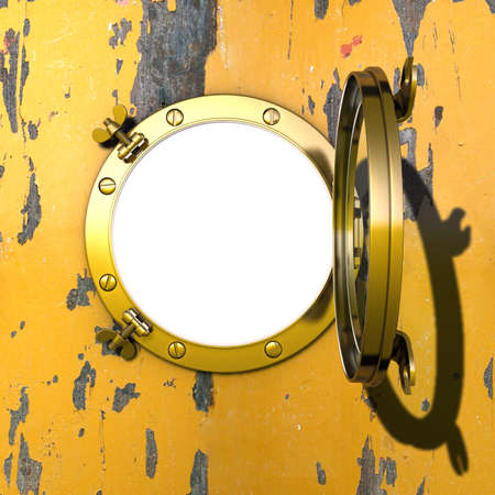 Porthole Illustration of an open gilded porthole in a cabin wall with peeling yellow colour illustration