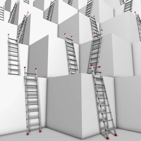 climbing ladder: Ascent or descend Illustration of a group of white blocks with a lot of ladders against their walls  Stock Photo