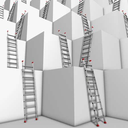 Mont�e ou descente Illustration d'un groupe de blocs blancs avec beaucoup d'�chelles contre les murs