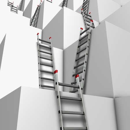 story: Ascenso o descenso Ilustraci�n de un grupo de bloques de color blanco con un mont�n de escaleras de mano en contra de sus paredes Foto de archivo