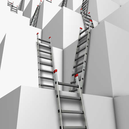 stories: Ascent or descend Illustration of a group of white blocks with a lot of ladders against their walls  Stock Photo