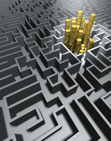 perplexity: Labyrinth and money Labyrinth in grey with stacks of golden coins in the center Stock Photo