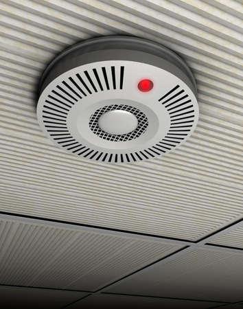 Illustration de fum�e et d�tecteur d'incendie d'un d�tecteur de fum�e et d'incendie en gris � un plafond gris Banque d'images