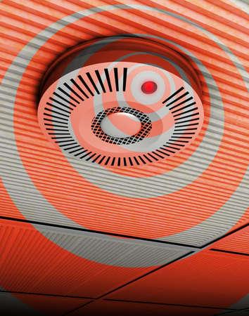 smoke alarm: Smoke and fire detector Illustration of a smoke and fire detector at a ceiling in gray and red