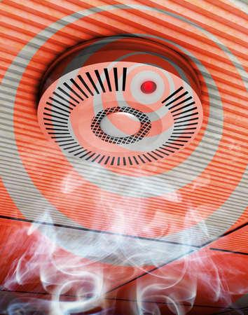 Illustration de fum�e et d�tecteur d'incendie d'un d�tecteur de fum�e et d'incendie en gris et rouge dans la fum�e de la hausse � un plafond Banque d'images