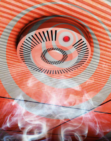 fire circle: Smoke and fire detector Illustration of a smoke and fire detector in gray and red in rising smoke at a ceiling Stock Photo