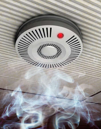 Illustration de fum�e et d�tecteur d'incendie d'un d�tecteur de fum�e et le feu dans la fum�e qui s'�l�ve � un plafond gris